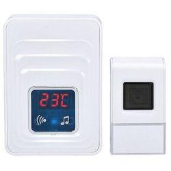 Solight bezprzewodowy dzwonek do drzwi z termometrem, IP44, do gniazda, 120 m, biały (8592718022044)