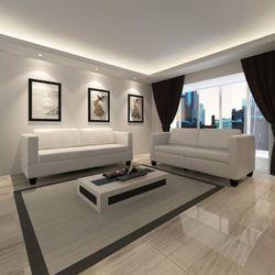 Vidaxl  skórzana sofa 3+2 krem
