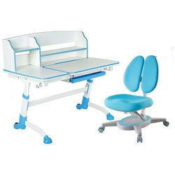 Fundesk Amare ii blue + primavera ii blue - regulowane biurko z krzesełkiem
