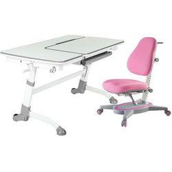 AMARE GREY + PRIMAVERA I PINK - Regulowane biurko z krzesełkiem FunDesk - Szkolna Promocja!