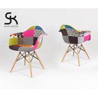 SK DESIGN KR012F TAPICEROWANY FOTEL PATCHWORK - Kolorowy \ Drewno buk