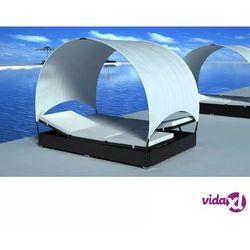 rattanowe łóżko, z zadaszeniem marki Vidaxl
