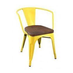 King home Krzesło metalowe, siedzisko drewniane tower arm wood żółte - sosna antyczna, metal (5900168810181)