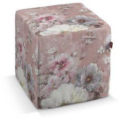 pufa kostka twarda, kremowe i różowe kwiaty na ciemno różowym tle, 40x40x40 cm, monet marki Dekoria