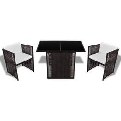 vidaXL Oryginalne meble polirattanowe, stół i 2 krzesła (8718475868736)