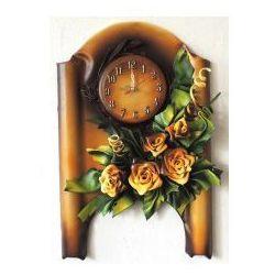 Zegar scienny ze skóry - róże - Z1-4, Z1-4