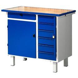Stół warsztatowy FLEX, na nóżkach, szafka, 7 szuflad