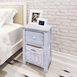 szafki nocne w stylu shabby chic, drewniane, białe, 2 szt. marki Vidaxl