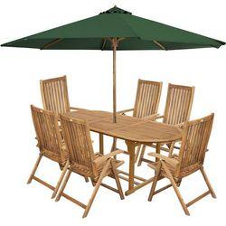 meble ogrodowe carmen 6s + zielony parasol, marki Fieldmann