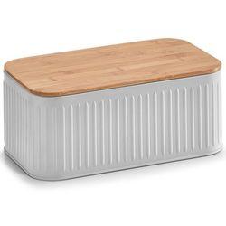 Zeller Metalowy chlebak z bambusową deską do krojenia, 2w1 - kolor szary,