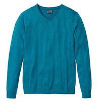 Bonprix Sweter z kaszmirem i dekoltem w serek, regular fit  niebieskozielony