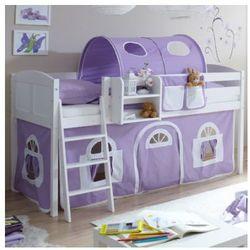 Ticaa łóżko z drabinką eric, białe drewno sosnowe country dworek kolor fioletowo-biały marki Ticaa kindermöbel