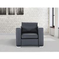 Skórzany fotel czarny - sofa - HELSINKI