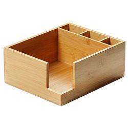 Kesper Bambusowy pojemnik na serwetki z pudełkiem na sztućce, serwetnik drewniany, stojak na serwetki, organ