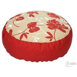 pufa okrągła czerwone kwiaty, Ø60x20 cm marki Dekoria