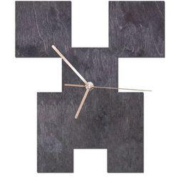 Drewniany zegar na ścianę piksele ze złotymi wskazówkami marki Congee.pl