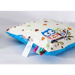 poduszka minky dwustronna 40x40 sówki kremowe d / niebieski marki Mamo-tato