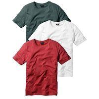 T-shirt (3 szt.) Regular Fit bonprix bordowy + ciemnozielony + biały