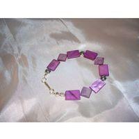 B-00006 Bransoletka na rękę z kostek masy perłowej, kolor beżowy