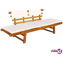 vidaXL Ławka ogrodowa z poduszkami, 2w1, 190 cm, lite drewno akacjowe, vidaxl_42647