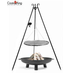 Zestaw 3w1 grill z kołowrotkiem stal czarna 50cm + palenisko bali 60cm marki Cook&king