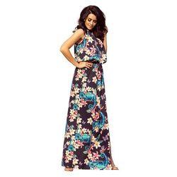 Numoco Czarna maxi sukienka wiązana na szyi w kameleony