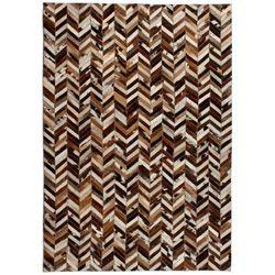 Dywan ze skóry, patchwork w jodełkę, 190x290 cm, brązowo-biały marki Vidaxl