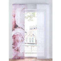 Firana panelowa z nadrukiem w róże (2 szt) biało-jasnoróżowy marki Bonprix