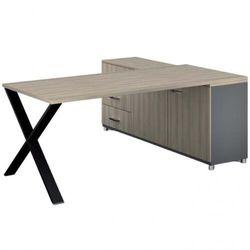 B2b partner Biurowy stół roboczy alfa x z szafką po lewej, blat 1800 x 800 mm, wzór naturalny dąb