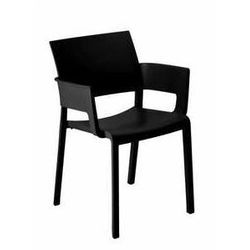 Krzesło ogrodowe z podłokietnikami do restauracji Fiona Resol czarne - sprawdź w wybranym sklepie