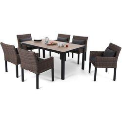 Home & garden Meble ogrodowe aluminiowe capri 185 cm black / sand capri brown / grey 6+1 (5902425328545)