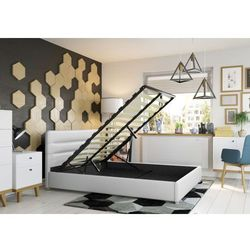 Łóżko 140x200 tapicerowane monza + pojemnik białe ekoskóra marki Big meble
