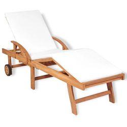 vidaXL Składany leżak z poduszką, drewno tekowe, 195x59,5x35 cm (8718475558590)