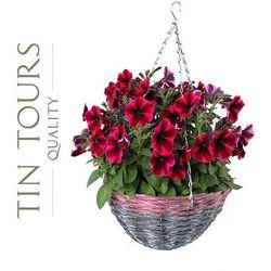Zwis wiklinowy / kosz wiszący na kwiaty 35x35x17,5/60 cm marki Tin tours sp.z o.o.