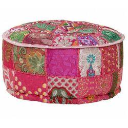 Okrągła różowa pufa patchwork - tela 3x marki Elior