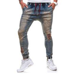 Spodnie męskie joggery ATHLETIC 0487 granatowe - GRANATOWY, kolor niebieski