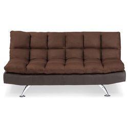 3-osobowa rozkładana kanapa z mikrofibry i imitacji skóry DIDIER - Kolor: czekoladowy