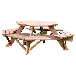 Aj produkty Sosnowy stół ogrodowy z siedziskami, Ø 1980x720mm, brąz