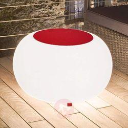 Stół BUBBLE, białe światło i czerwony filc