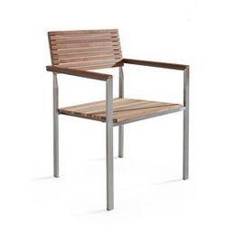 Beliani Krzesło ogrodowe - stal nierdzewna - drewno tekowe - viareggio