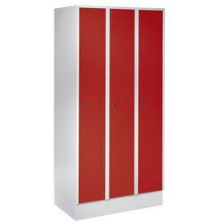 Szafa szatniowa z cokołem, wys. x szer. x gł. 1800x900x500 mm, 3 półki, czerwona marki Eugen wolf