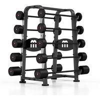 Zestaw sztang gumowanych 10-55 kg ze stojakiem Marbo Sport - czarny