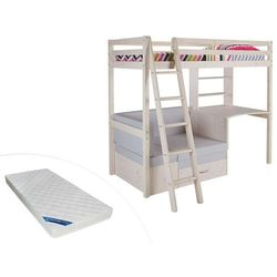 Łóżko antresola goliath z biurkiem, sofą i szafkami - 90 × 200 cm - lite drewno sosnowe - bielony + materac zeus 90 × 200 cm marki Vente-unique