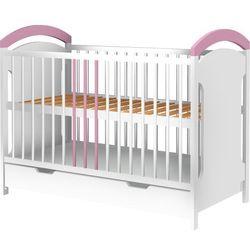 Łóżeczko adaś z szufladą biało-różowe marki Piętrus