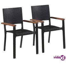 Vidaxl krzesła ogrodowe, 2 szt., polirattan, czarne (8718475601661)