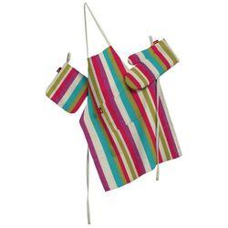 Dekoria Komplet kuchenny łapacz, rękawica oraz fartuch, kolorowe pasy, kpl, Norge