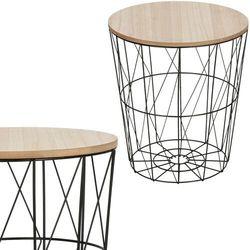 Springos Stolik kawowy loft, kosz metalowy industrialny 35 cm czarny (5907719408958)