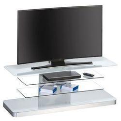 Stolik pod telewizor, 130 cm, biały, szkło, metal, 77469946