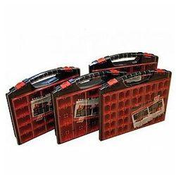 - organizer na końcówki, elektronikę, śrubki itp. - 430 x 370 x 55 mm - 25 wyjmowanych pojemników marki Tayg