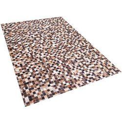 Dywan - brązowo-beżowy - skóra - patchwork - 160x230 cm - konya marki Beliani